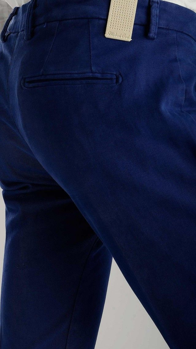 Michael Coal - Blue ink gabardine cotton trousers