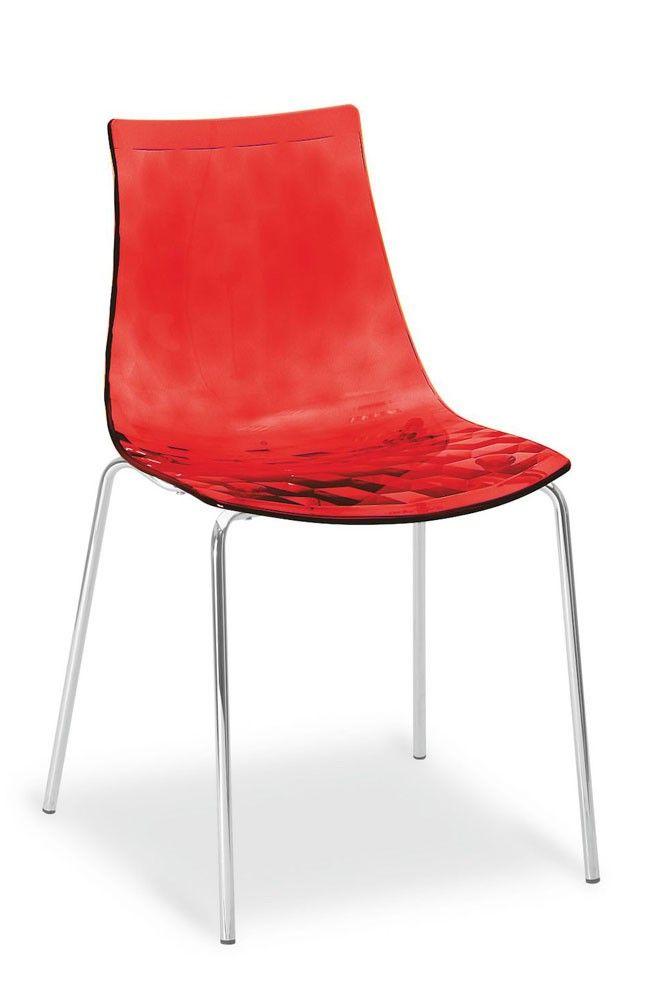 Stunning  Stuhl Ice in Rot durchsichtig und mit verchromtem Gestell jetzt gleich versandkostenfrei auf Rechnung oder Finanzierung im Online Shop bestellen