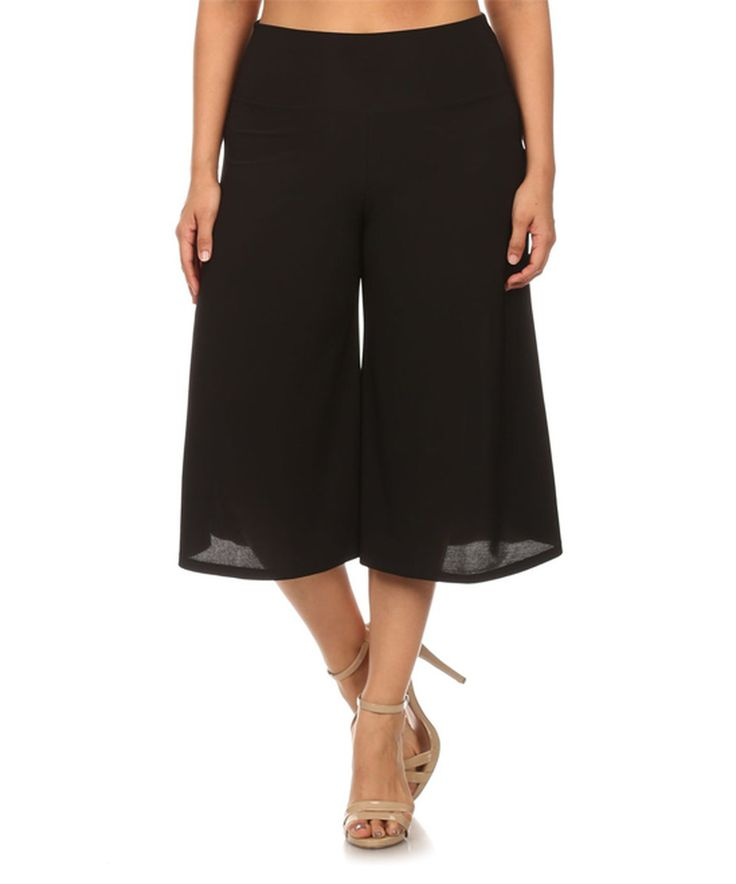 Loving this Black Gaucho Pants - Plus on #zulily! #zulilyfinds