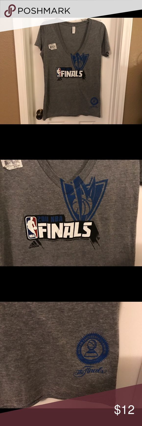 Adidas Dallas 2011 NBA Finals Ladies T-Shirt NWT Adidas Dallas Mavericks 2011 NBA Finals Ladies V-Neck T-Shirt. It is new with the store tags but not the manufacturer tags. Color is medium gray. Smoke-free home. adidas Tops Tees - Short Sleeve