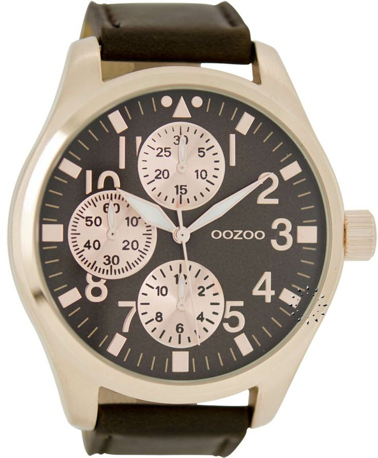 OOZOO Large Τimepieces Brown Leather Strap Μοντέλο: C6051 Η τιμή μας: 69€ http://www.oroloi.gr/product_info.php?products_id=35863