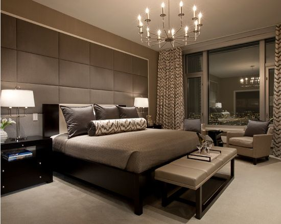 modern master bedroom suite : lighting : window treatments : bench : headboard : masculine