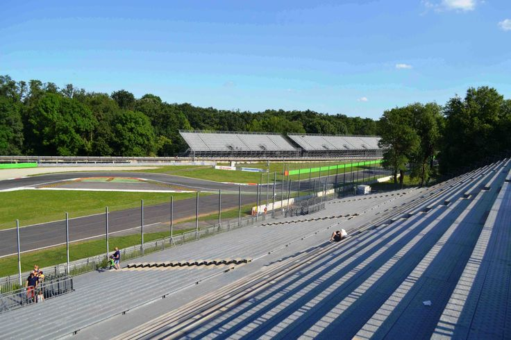 The view from Grandstand 8 on the Prima Variante corner at