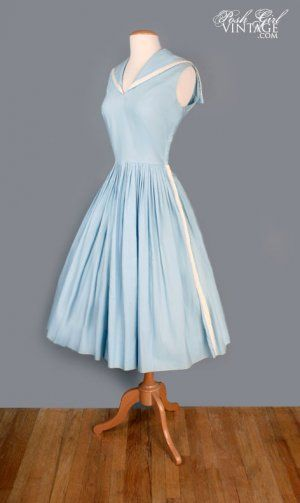 50s baby blue & white sailor dress