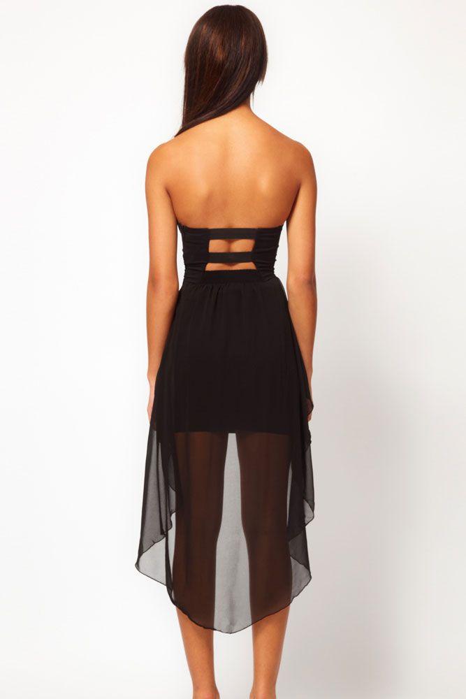 Bandeau Dress with Asymmetric Hem