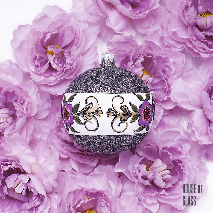 hand painted bauble with flowers | Christmas decorations