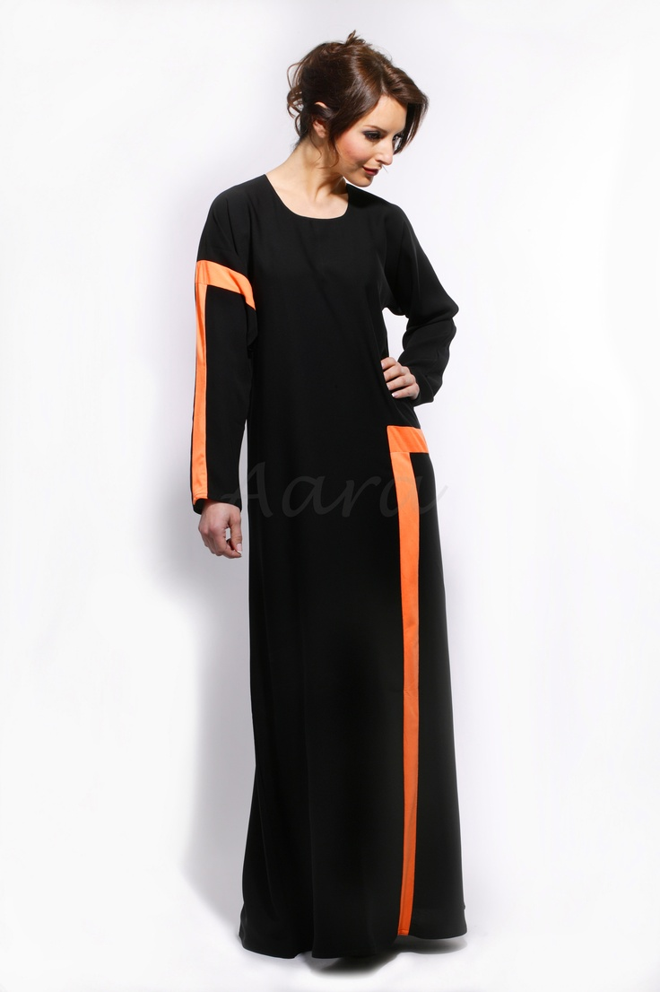 We love this Orange Desire Abaya. Perfect for making a stylish entrance, this Abaya features a stunning jersey block shape detailing on the arm and down the front on the Abaya, a button loop back opening on gorgeous crepe material. A wise choice for a day at work or lounge around at home…