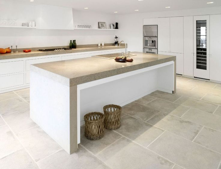 Cement minimalist countertop for kitchen