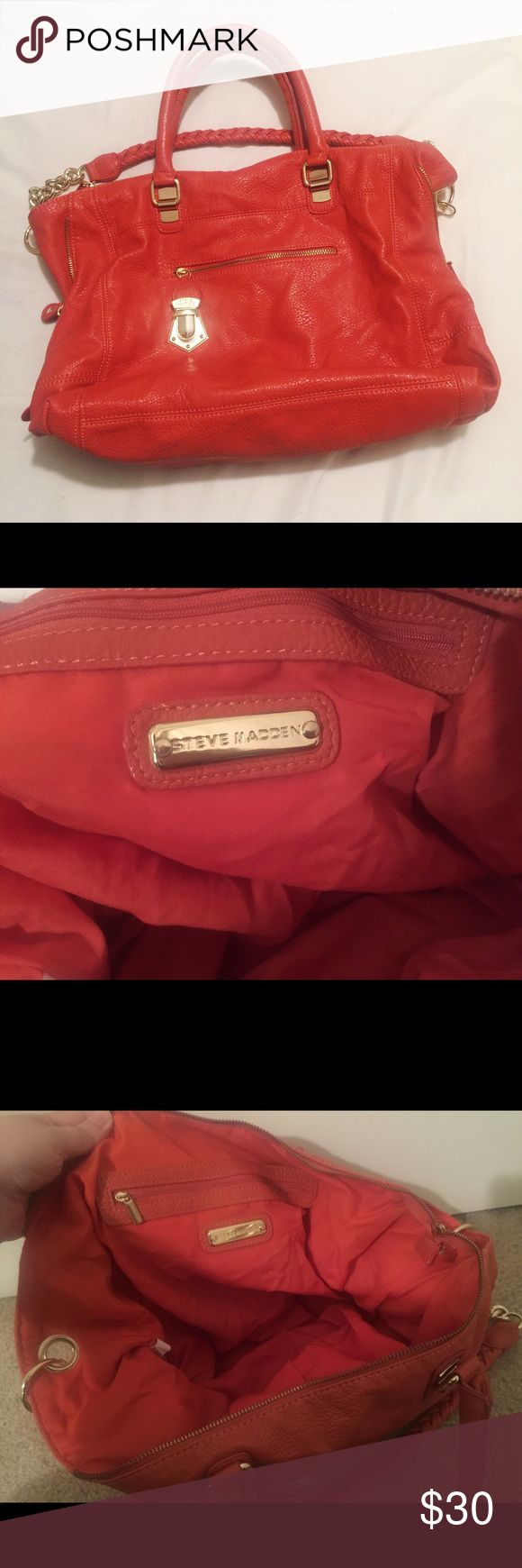 Steve Madden Purse, excellent condition Beautiful Steve Madden purse in excellent condition. Could pass as new. Inside is clean and so is outside. No stains or flaws. The color of the bag is more of a burnt orange color. Steve Madden Bags