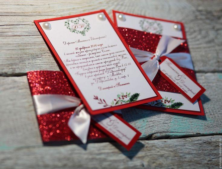 """Купить Свадебные приглашения в красном цвете """"Блеск красного"""" - приглашение, на свадьбу, ярко-красный"""