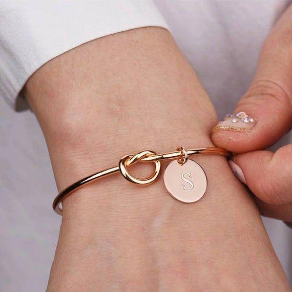 Initial Knot Bracelet 26 Letters Bangles for Girlfriends A-Z | Etsy | Bridesmaid  bracelet gift, Knot bracelet bridesmaid, Engraved bridesmaid gifts