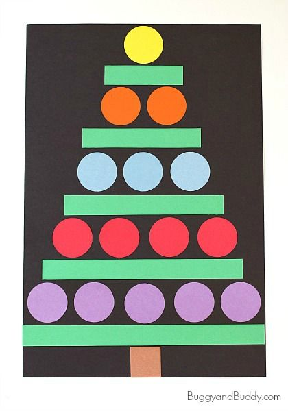 Christmas Crafts for Kids: Paper Shape Christmas Tree Craft~BuggyandBuddy.com