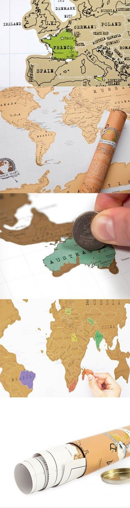 Keep a cool record of all the countries you 've been with the Scratch World Map! - www.MyWonderList.com