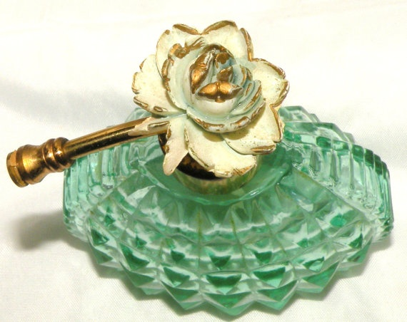 Vintage Perfume Bottle I W Rice Japan Green DIamond Pattern Rose Topped perfume Bottle.
