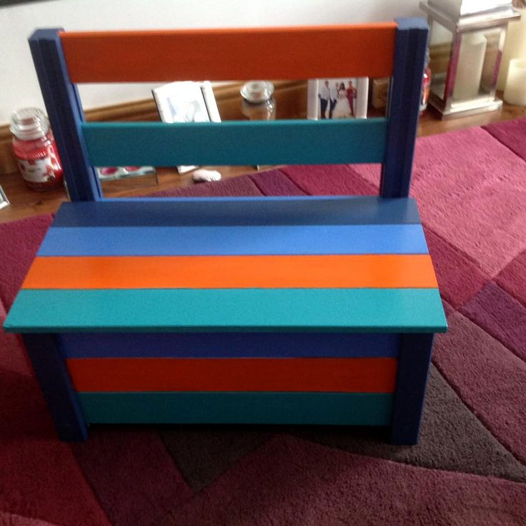 repurposed pallet painted kids chair with storage