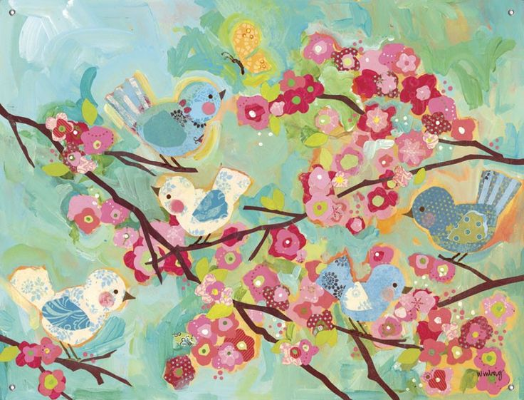 Cherry blossom birdies floral mural banners oopsy for Cherry blossom mural