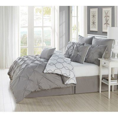 Park Avenue Collection Esy Reversible Pintuck/Printed 8Pc Oversize/Overfilled King Comforter Set /Grey