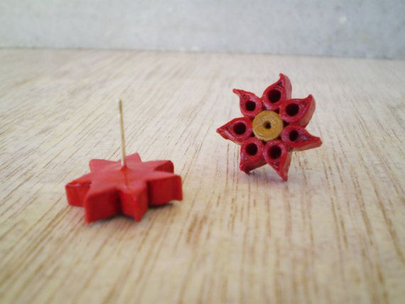 Christmas Star Earrings Red Gold Paper by LeftysHandcrafts on Etsy