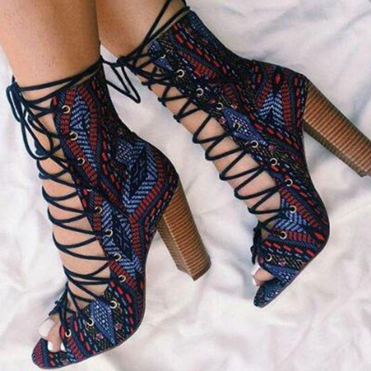 Sandales pour femmes épaisses et sexy, souliers pour femmes à lanières croisées à talons hauts