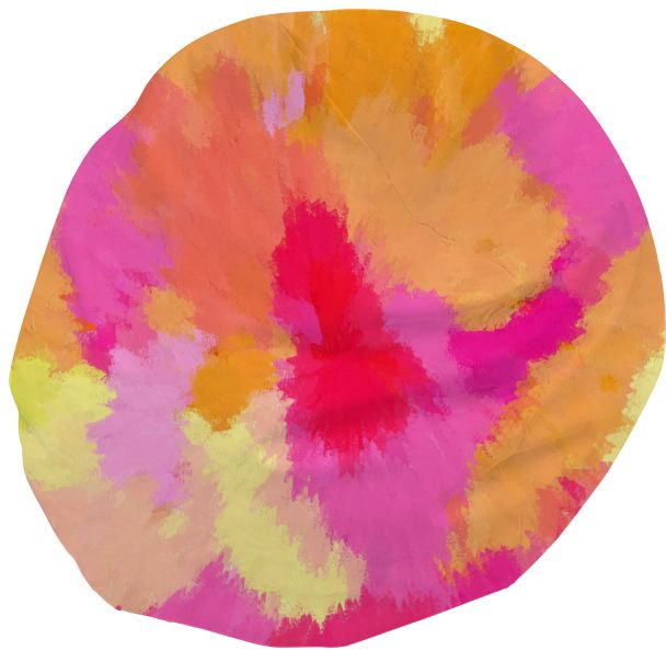Pink, orange and yellow bean bag Pink, Orange and Yellow colors swirling, blending, melting into one another, creating this beautiful, conversational bean bag!