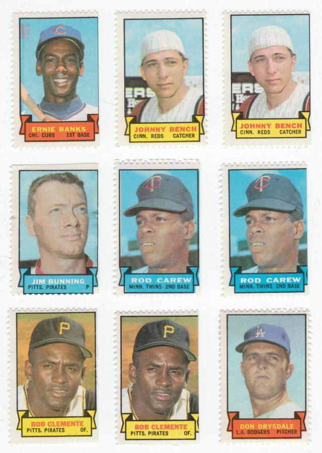 1969 Topps Baseball Stamps Banks, Bench, Bunning, Carew Clemente, and Drysdale.