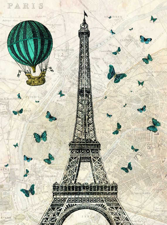 Eiffel Tower with Hot Air Balloon and Butterflies by TinkerPrince, $13.00