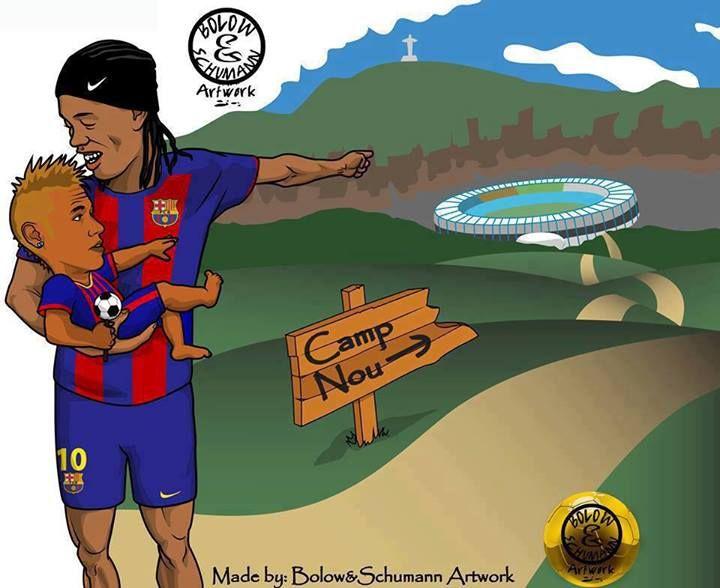 ronaldinho barcelona   Cartoon : Ronaldinho y Neymar - FC Barcelona news