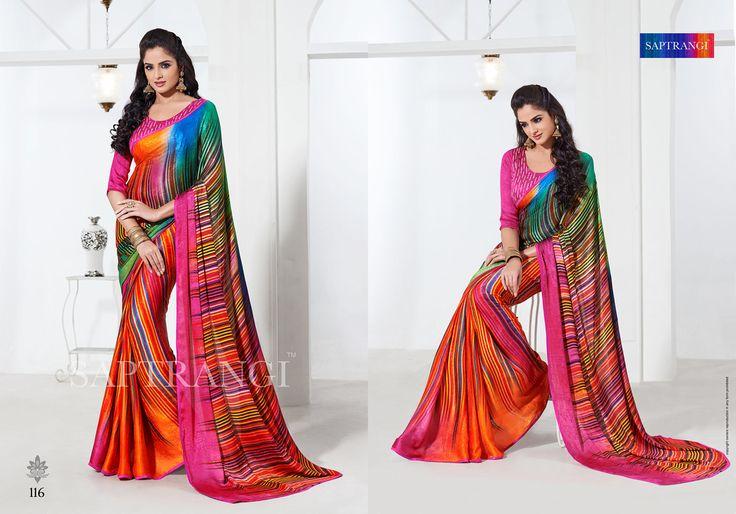 www.saptrangi.com Info@saptrangi.com  Multicolor digital crap silk saree