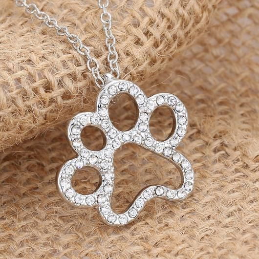 Crystal Dog Paw Necklace - Square Berry Co