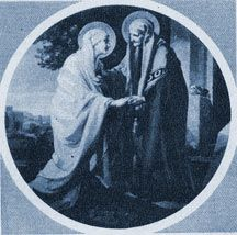 """The Visitation: Mary goes to visit her cousin Elizabeth and is praised by her as """"blessed among women."""" (Luke 1:39-56)"""