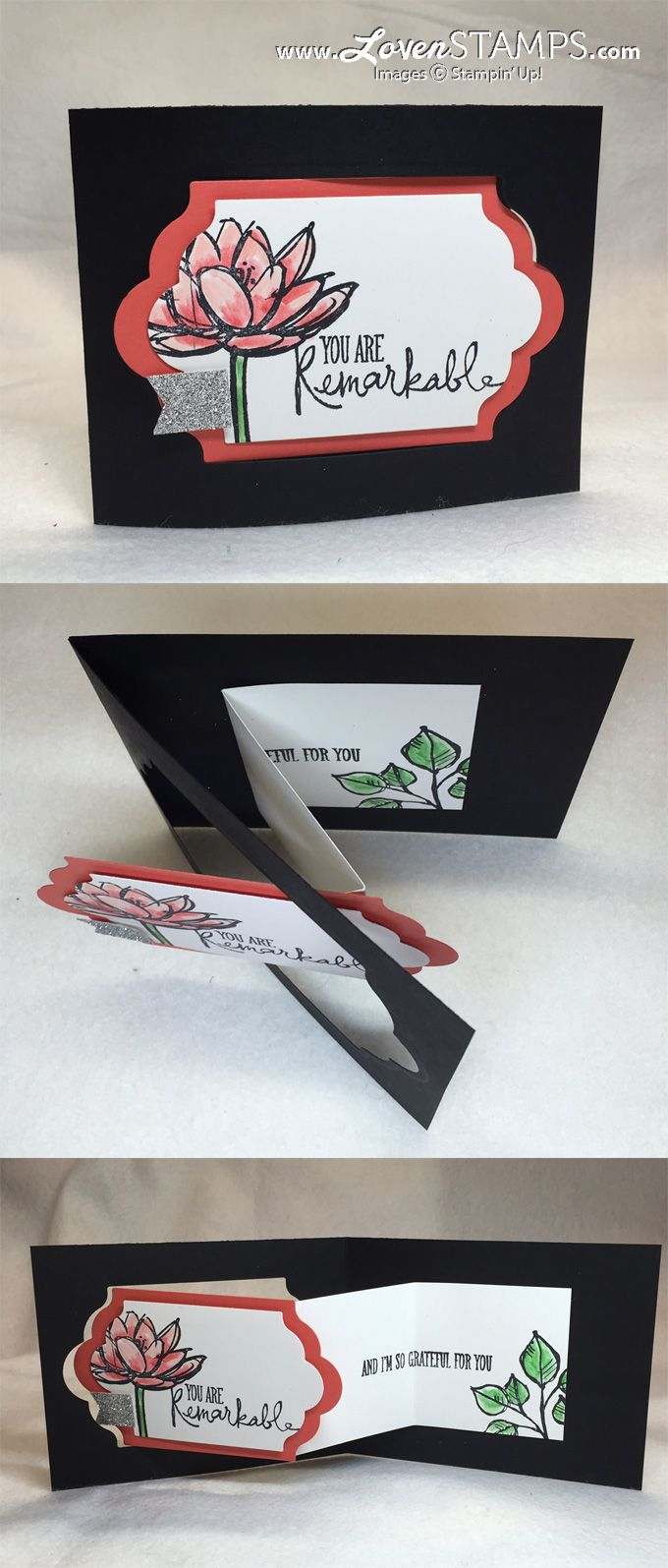 Steps for making a Z-Fold Card, tutorial by LovenStamps with Remarkable You and the Lots of Labels Framelits by Stampin' Up!