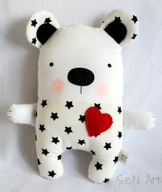 Black and White Stars Handmade Stuffed Teddy Bear Soft by SenArt1