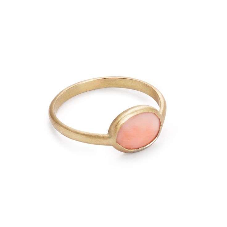 14-karat gold unique ring with coral