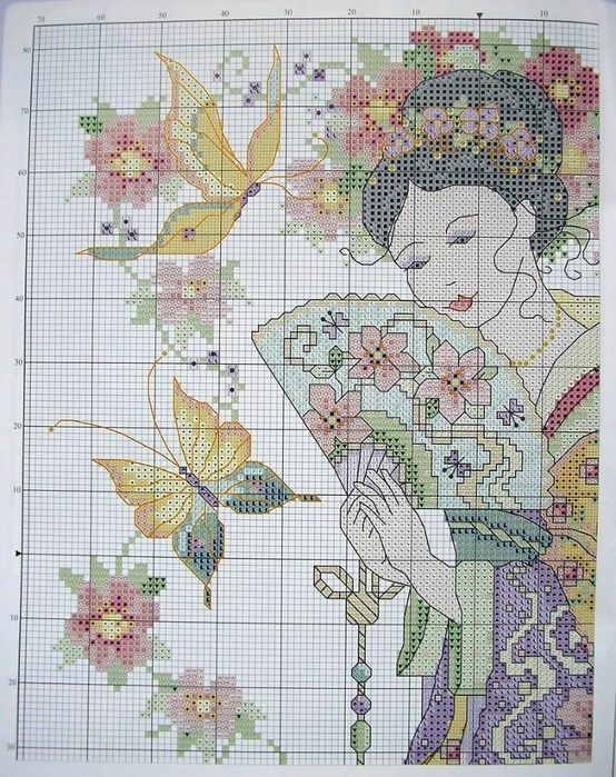 Cross Stitch - Japanese Woman 2/2.