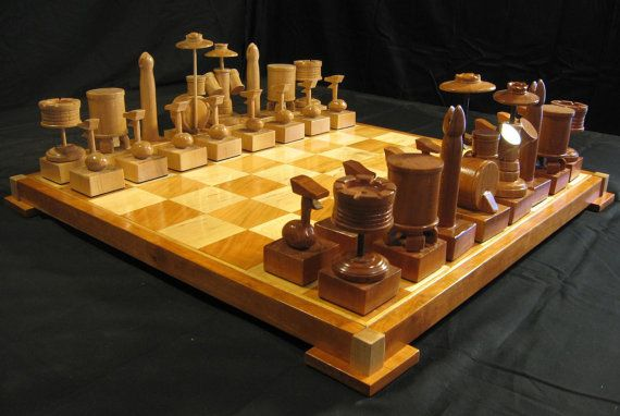 Cherry Drum Chess Set Handmade on etsy by JimArnoldsChessSets, $650.00