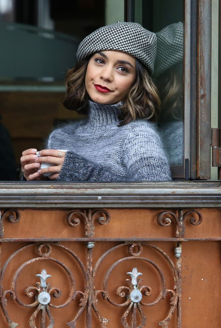 Vanessa Hudgens filming a scene for her upcoming movie project 'Second Act' in NYC October 26, 2017