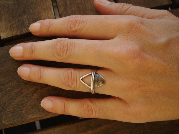 Silver Triangle Rings - Unique Design - Geometric Stackable Rings - Everyday Ring- Minimal Triangle for her - Triangle ring set