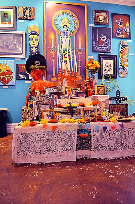 Dia de Los Muertos altar. Working on growing my space and hoping it will one day be this beautiful.