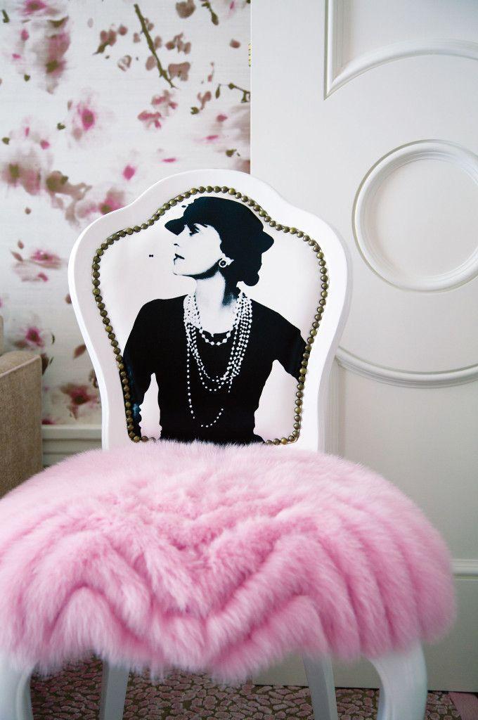 "The ""Coco"" chair is dressed in a repurposed Oscar de la Renta pink fur evening coat."