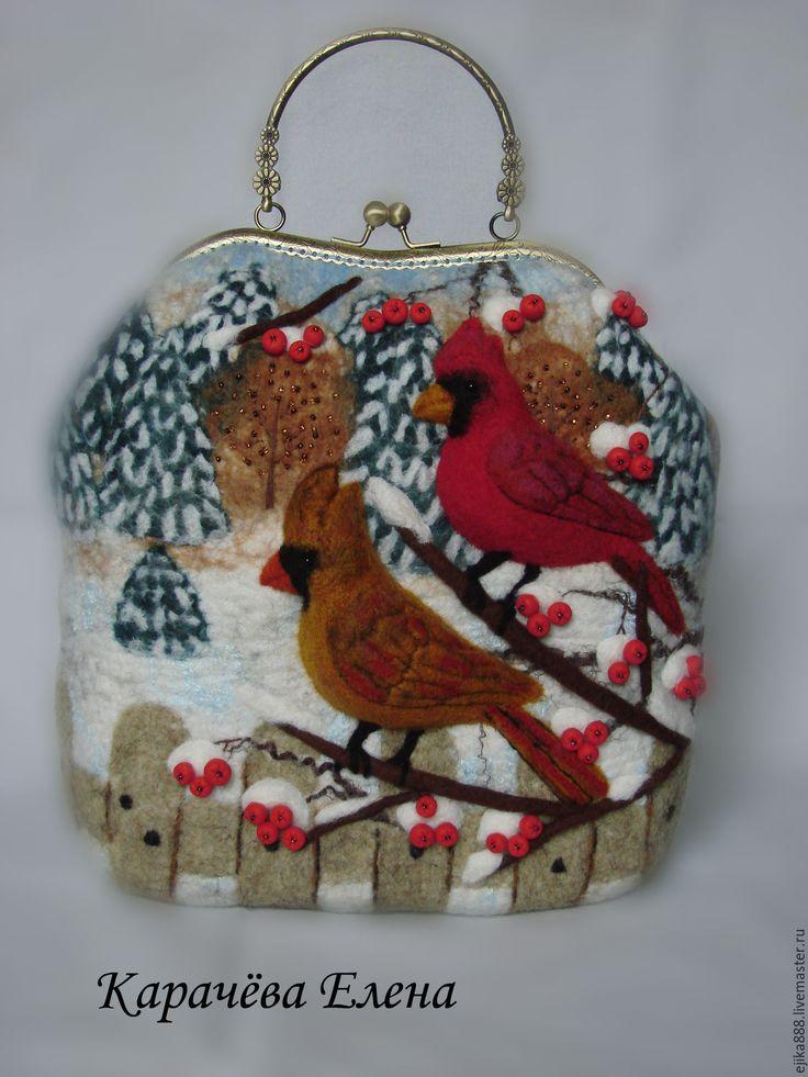 """Купить Сумка """"Кардиналы"""". - птицы на ветке, птицы, кардинал, свиристель, сумка женская, Сумка авторская"""