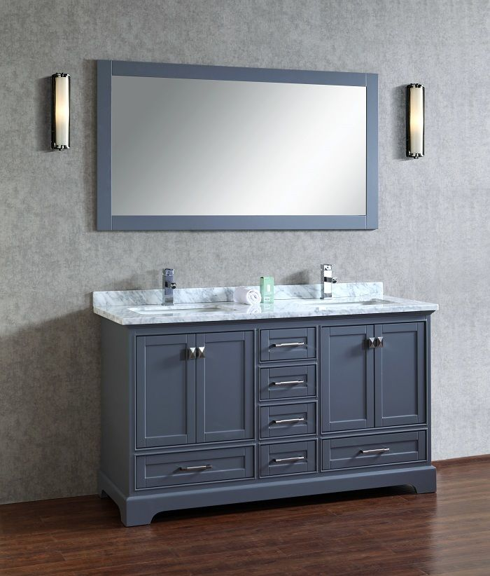 Stufurhome HD-7130G-60-CR Chanel Grey 60-inch Double Sink Bathroom Vanity with Mirror