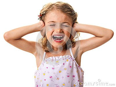 Noise and stress concept - child girl covering ears and yelling. Isolated on white.