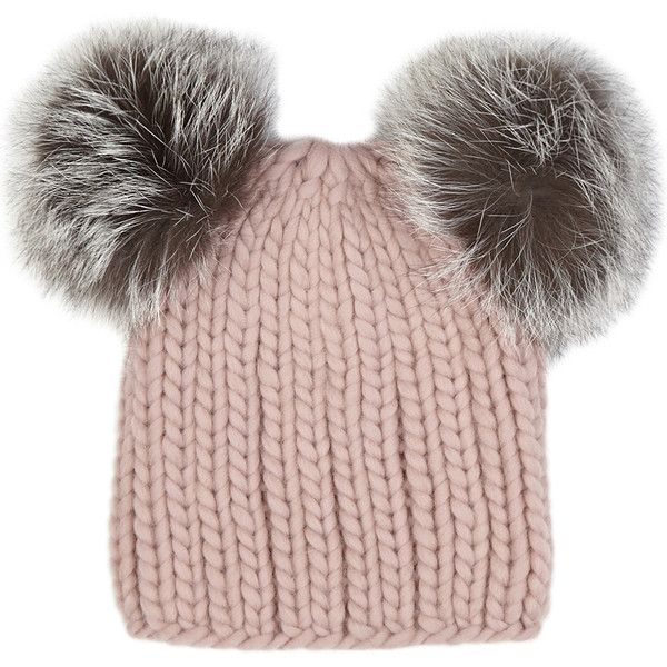 EUGENIA KIM Mimi pink fur pompom wool beanie (£190) ❤ liked on Polyvore featuring accessories, hats, pom beanie, pink beanie, beanie cap, fox fur hat and fur beanie hat