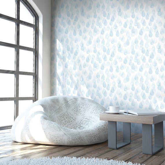Removable Wallpaper Peel and Stick Wall paper. Rain Pattern Nursery Decor