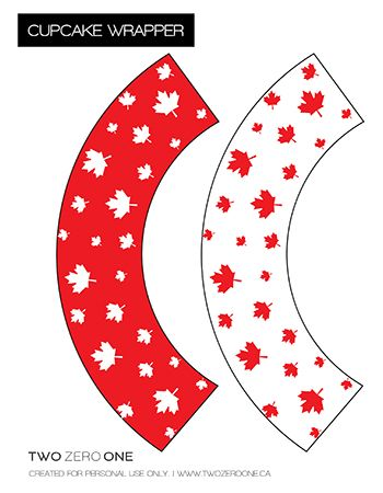 Free Canada Day Cupcake Wrappers and cupcake flags and leaves for a banner