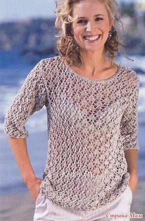 Ажурный светло-бежевый пуловер - Вязание - Страна Мам