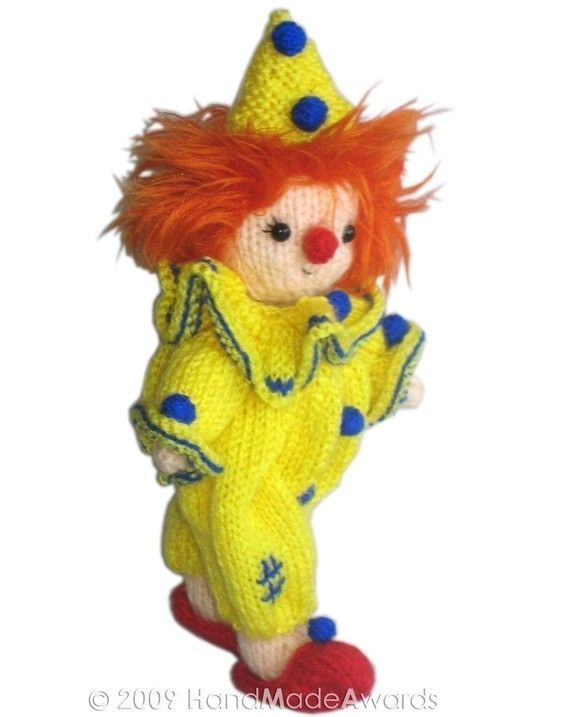 Little CLOWN Pdf Email KNIT PATTERN by HandMadeAwards on Etsy