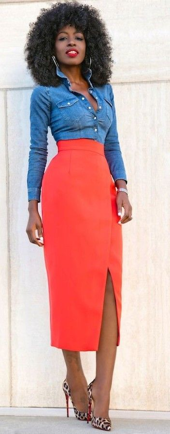 #summer #trendy #outfits |  Denim + Red + Pop Of Leo