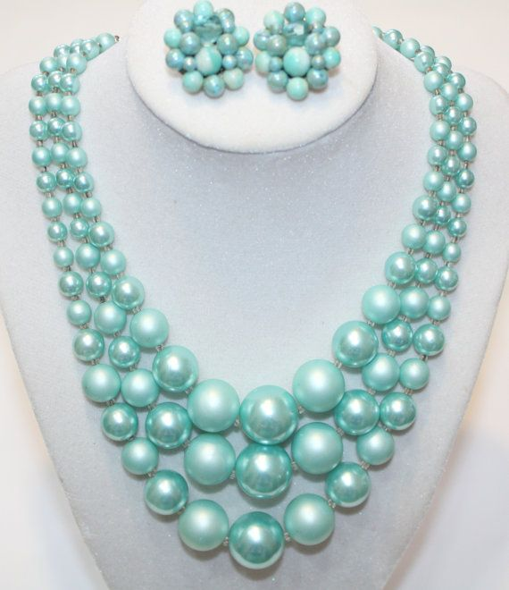 Shoply.com -Triple Stranded Japan Necklace and matching earrings, Robin Egg Blue Beads. Only C$40.00