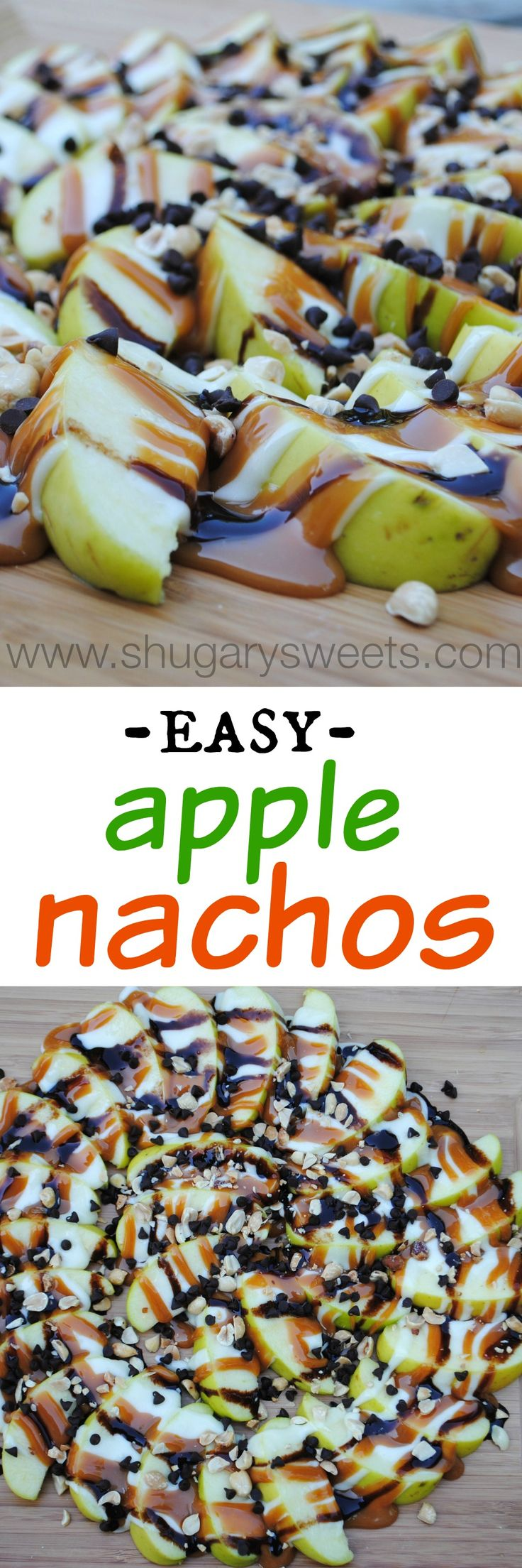 Apple Nachos: delicious layer of sweet apples topped with caramel, chocolate, marshmallow, nuts and chocolate morsels.